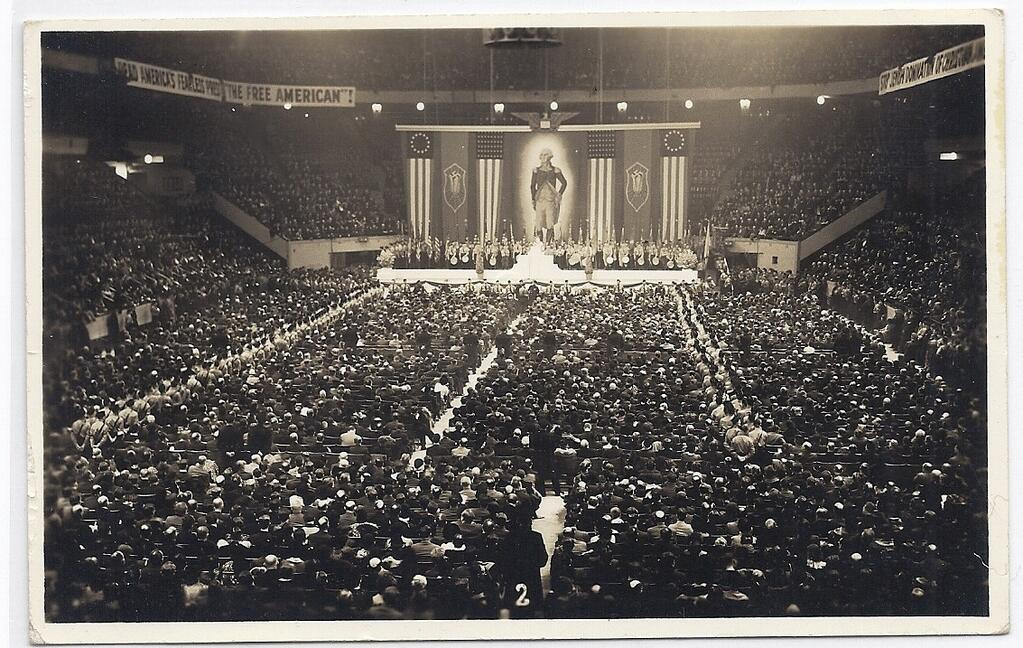 American Nazi organization rally at Madison Square Garden, New York City, 1939.